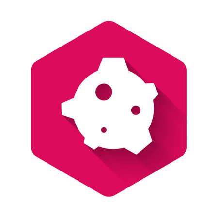 White Asteroid icon isolated with long shadow background. Pink hexagon button. Vector