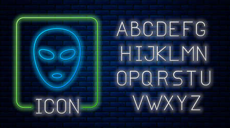 Glowing neon Alien icon isolated on brick wall background. Extraterrestrial alien face or head symbol. Neon light alphabet. Vector