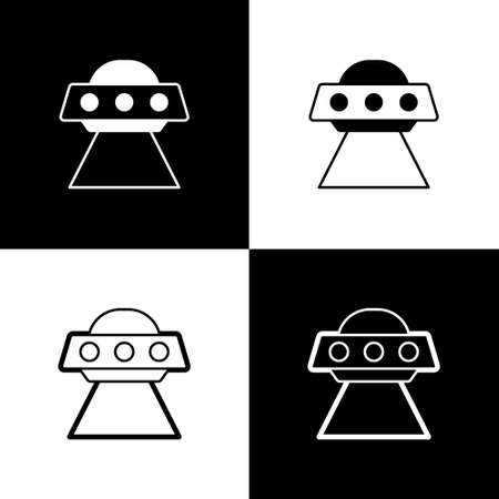 Set UFO flying spaceship icon isolated on black and white background. Flying saucer. Alien space ship. Futuristic unknown flying object. Vector Векторная Иллюстрация