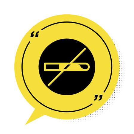 Black No Smoking icon isolated on white background. Cigarette symbol. Yellow speech bubble symbol. Vector