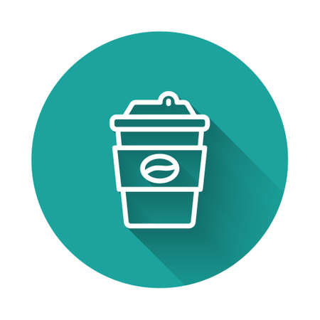 White line Coffee cup to go icon isolated with long shadow background. Green circle button. Vector Vecteurs
