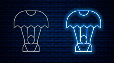 Glowing neon line Parachute icon isolated on brick wall background. Vector
