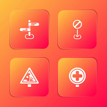 Set Road traffic sign, Stop, Warning road and Hospital icon. Vector
