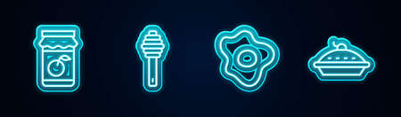 Set line Jam jar, Honey dipper stick, Scrambled eggs and Homemade pie. Glowing neon icon. Vector