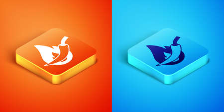 Isometric Hot chili pepper pod icon isolated on orange and blue background. Design for grocery, culinary products, seasoning and spice package, cooking book. Vector