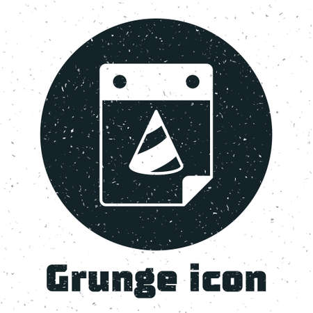 Grunge Calendar party icon isolated on white background. Event reminder symbol. Monochrome vintage drawing. Vector