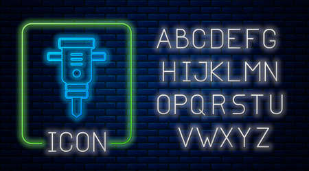 Glowing neon Construction jackhammer icon isolated on brick wall background. Neon light alphabet. Vector