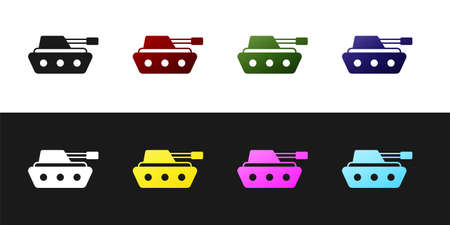 Set Military tank icon isolated on black and white background. Vector Vector Illustration