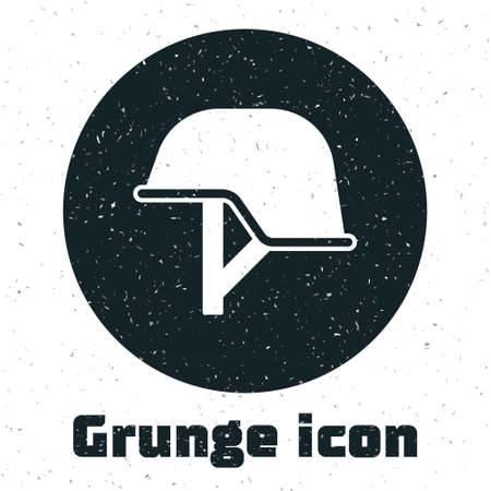 Grunge Military helmet icon isolated on white background. Army hat symbol of defense and protect. Protective hat. Monochrome vintage drawing. Vector
