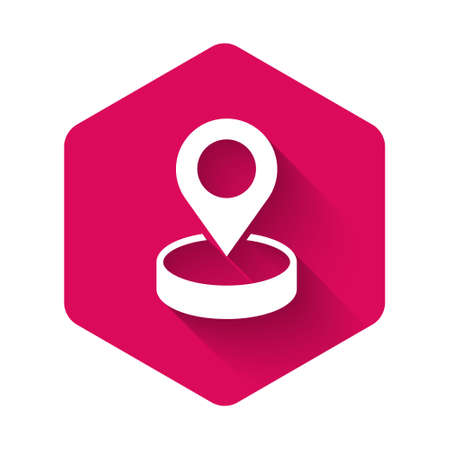 White Map pin icon isolated with long shadow background. Navigation, pointer, location, map, gps, direction, place, compass, search concept. Pink hexagon button. Vector