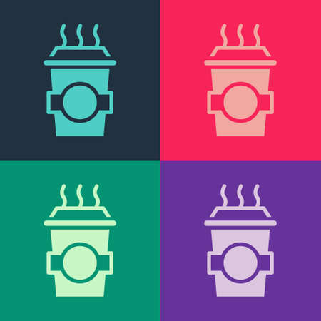 Pop art Coffee cup to go icon isolated on color background. Vector