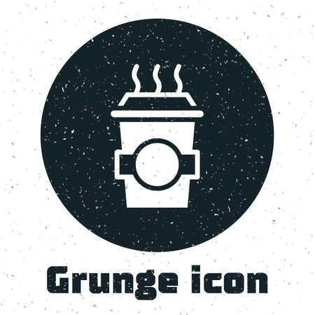 Grunge Coffee cup to go icon isolated on white background. Monochrome vintage drawing. Vector