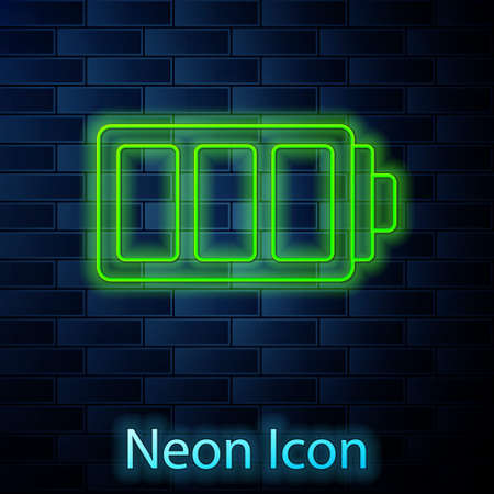 Glowing neon line Battery charge level indicator icon isolated on brick wall background. Vector