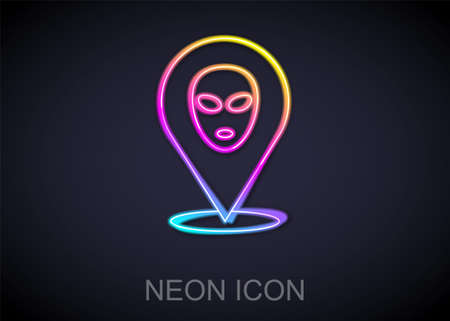 Glowing neon line Alien icon isolated on black background. Extraterrestrial alien face or head symbol. Vector