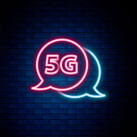 Glowing neon line 5G new wireless internet wifi connection icon isolated on brick wall background. Global network high speed connection data rate technology. Colorful outline concept. Vector Vektoros illusztráció