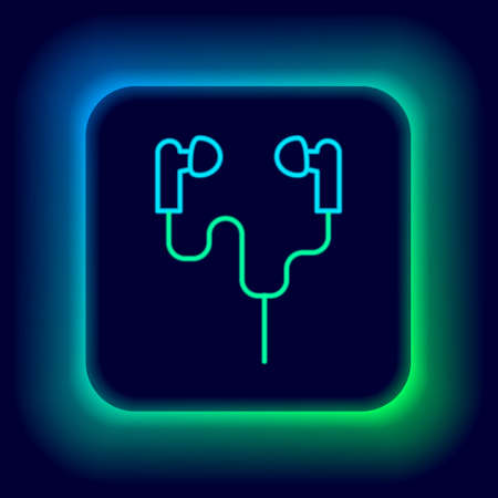 Glowing neon line Earphones icon isolated on black background. Holder wireless in case earphones garniture electronic gadget. Colorful outline concept. Vector