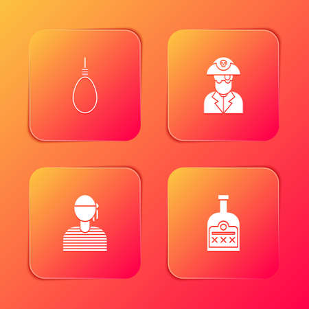 Set Gallows rope loop hanging, Pirate captain, Sailor and Alcohol drink Rum bottle icon. Vector