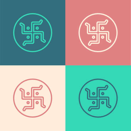 Pop art line Hindu swastika religious symbol icon isolated on color background. Vector