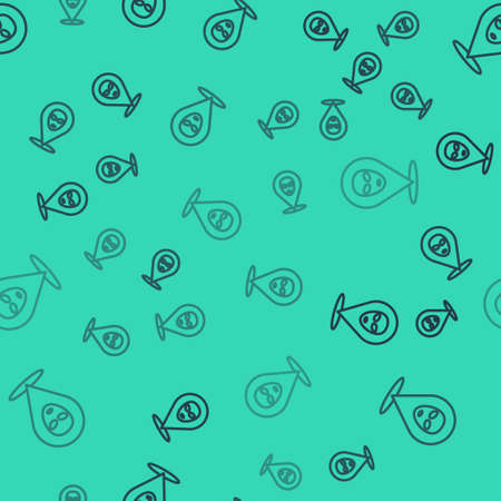 Black line Alien icon isolated seamless pattern on green background. Extraterrestrial alien face or head symbol. Vector