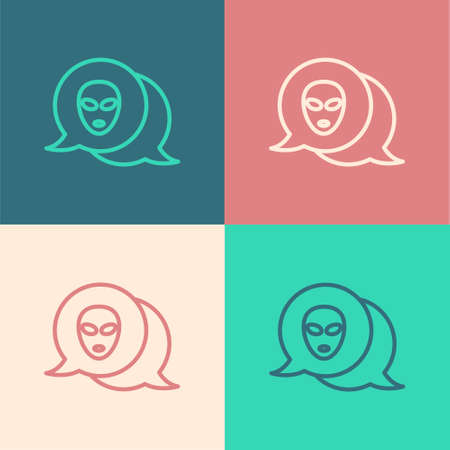 Pop art line Alien icon isolated on color background. Extraterrestrial alien face or head symbol. Vector Vector Illustratie