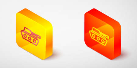 Isometric line Military tank icon isolated on grey background. Yellow and orange square button. Vector