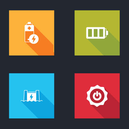 Set Battery, Hydroelectric dam and Power button icon. Vector