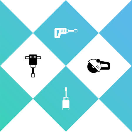 Set Construction jackhammer, Screwdriver, Rotary drill machine and Angle grinder icon. Vector
