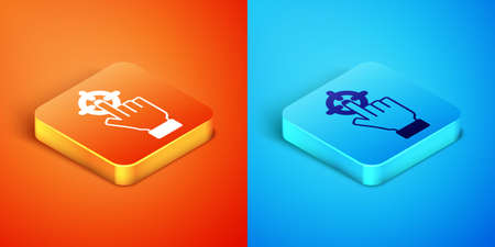 Isometric Target financial goal concept icon isolated on orange and blue background. Symbolic goals achievement, success. Vector