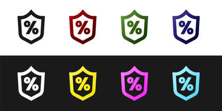 Set Loan percent icon isolated on black and white background. Protection shield sign. Credit percentage symbol. Vector