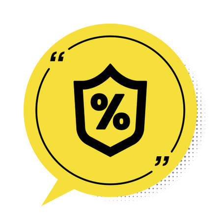 Black Loan percent icon isolated on white background. Protection shield sign. Credit percentage symbol. Yellow speech bubble symbol. Vector