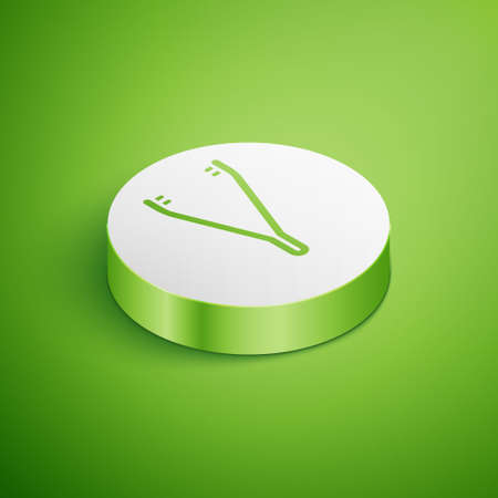 Isometric Medical tweezers icon isolated on green background. Medicine and health. Anatomical tweezers. White circle button. Vector Illustration
