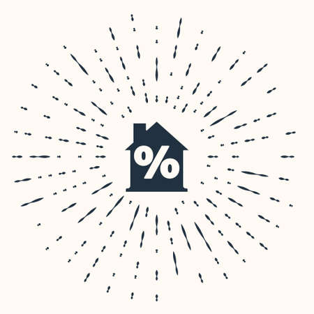 Grey House with percent discount tag icon isolated on beige background. Real estate home. Credit percentage symbol. Abstract circle random dots. Vector