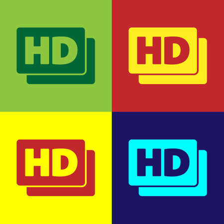 Pop art Hd movie, tape, frame icon isolated on color background. Vector