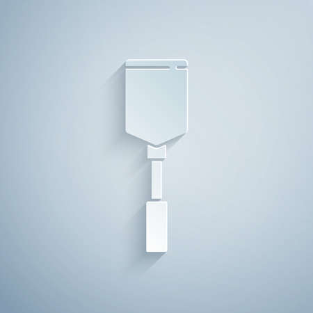 Paper cut Spatula icon isolated on grey background. Kitchen spatula icon. BBQ spatula sign. Barbecue and grill tool. Paper art style. Vector