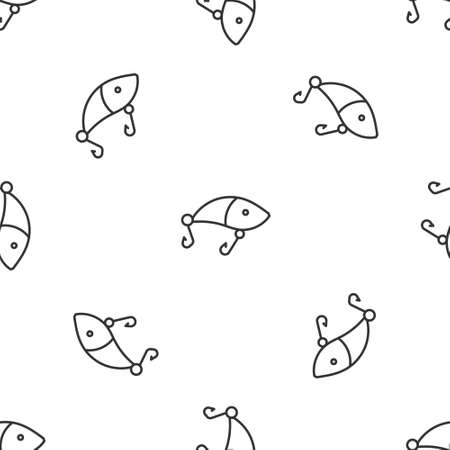 Grey line Fishing lure icon isolated seamless pattern on white background. Fishing tackle. Vector