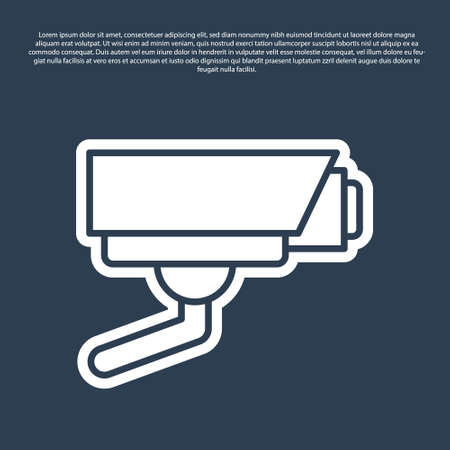 Blue line Security camera icon isolated on blue background. Vector