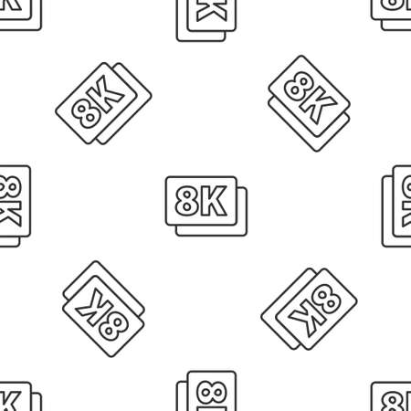 Grey line 8k Ultra HD icon isolated seamless pattern on white background. Vector Vektorové ilustrace