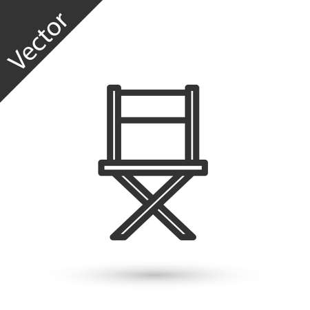 Grey line Director movie chair icon isolated on white background. Film industry. Vector