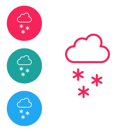Red line Cloud with snow icon isolated on white background. Cloud with snowflakes. Single weather icon. Snowing sign. Set icons in circle buttons. Vector
