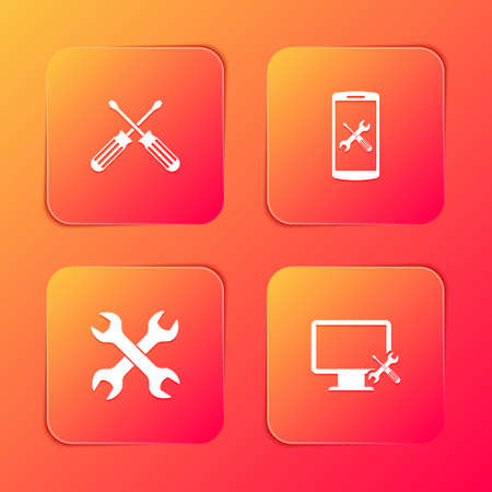 Set Crossed screwdrivers, Smartphone service, wrenchs and Computer monitor icon. Vector