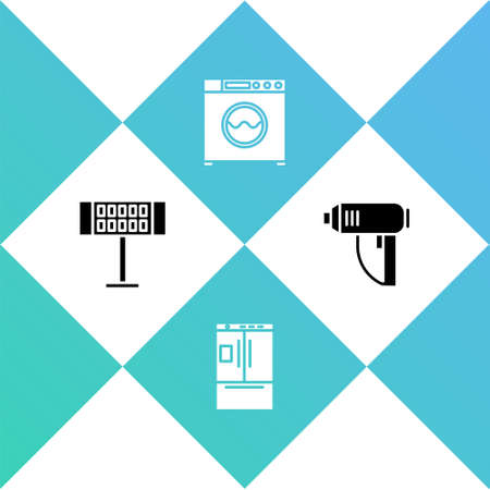 Set Electric heater, Refrigerator, Washer and industrial dryer icon. Vector