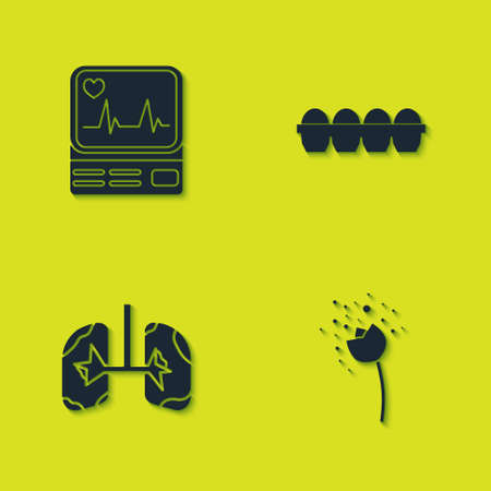 Set Monitor with cardiogram, Flower producing pollen, Lungs and Chicken egg box icon. Vector