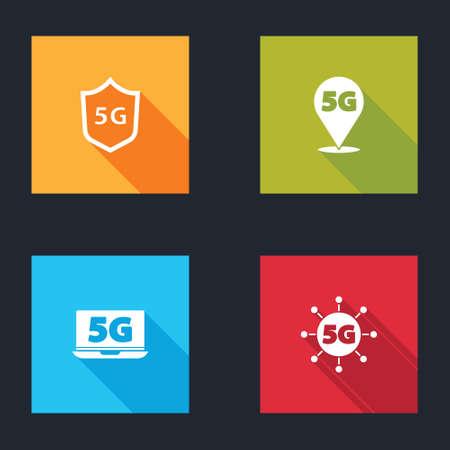 Set Protective shield 5G, Location network, Laptop icon. Vector Vektoros illusztráció