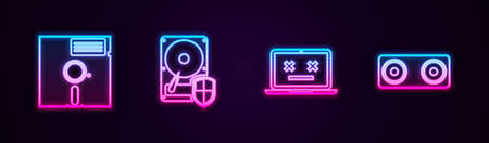 Set line Floppy disk, Hard drive HDD protection, Dead laptop and Stereo speaker. Glowing neon icon. Vector