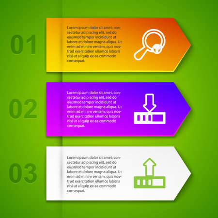 Set line Unknown search, Loading, and document. Business infographic template. Vector Векторная Иллюстрация