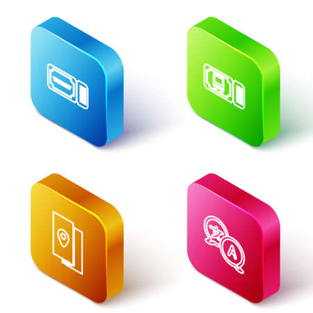 Set Isometric line Ticket, Bus ticket, Cover book travel guide and Translator icon. Vector