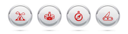 Set line Tourist tent with flag, Head flashlight, Compass and Swiss army knife. Silver circle button. Vector