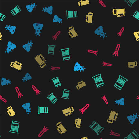 Set line Campfire, Open matchbox and matches, Flashlight and on seamless pattern. Vector