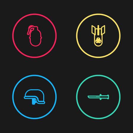 Set line Military helmet, knife, Biohazard bomb and Hand grenade icon. Vector Illustration
