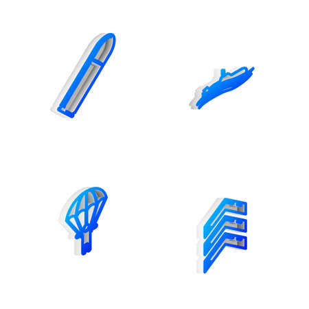 Set Isometric line Submarine, Bullet, Parachute and Military rank icon. Vector